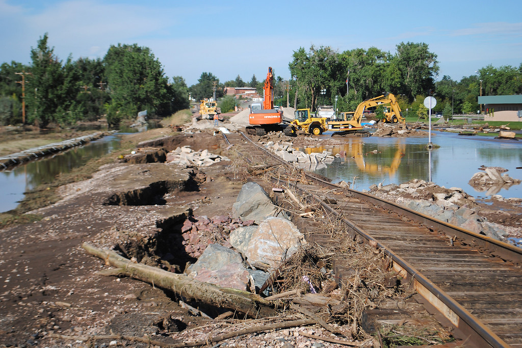 . Damage caused by the flood at Fairgrounds Park in Loveland on Monday September 16, 2013. (Photo by Lilia Munoz/ Loveland Reporter-Herald)