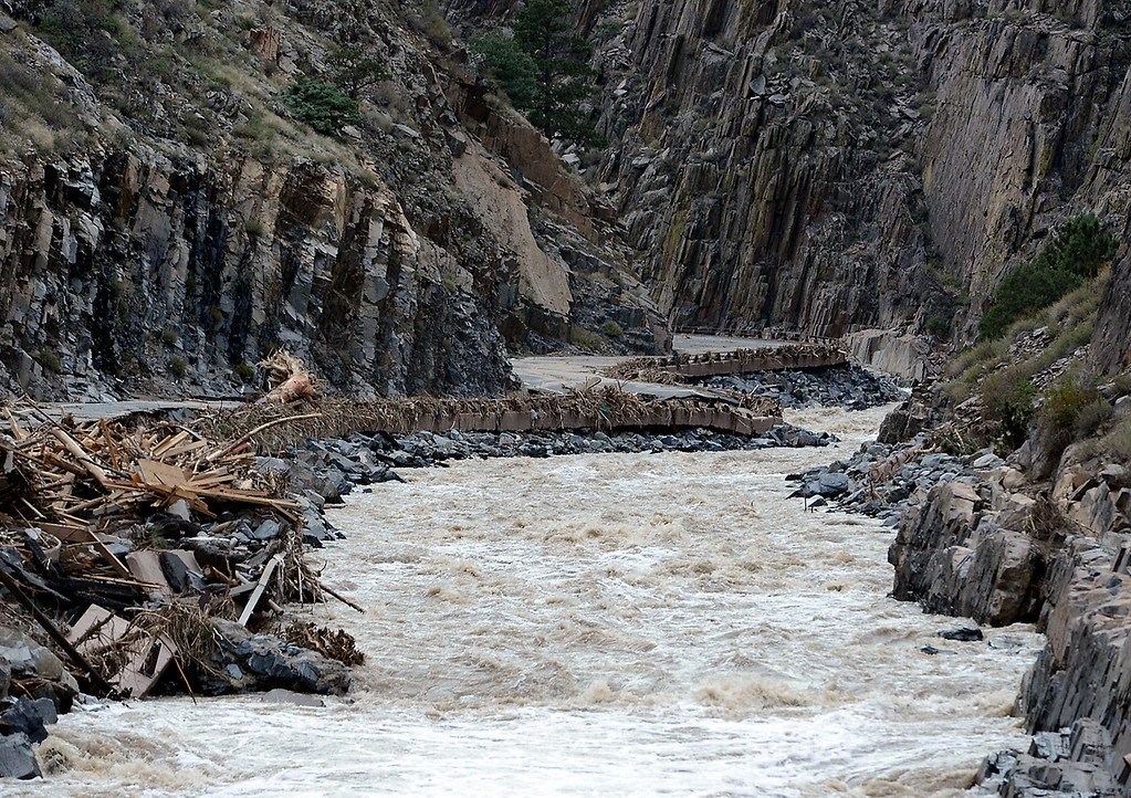 . U.S. 34 at the mouth of the Big Thompson Canyon seen Tuesday, September 17, 2013, was washed away by the flood. (Photo by Jenny Sparks/Loveland Reporter-Herald)