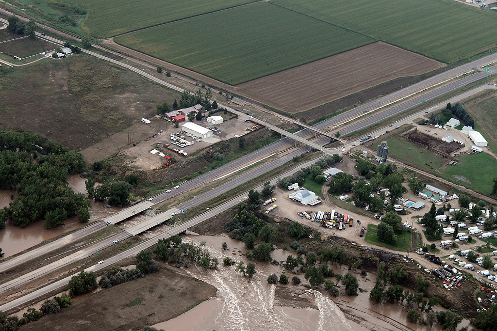 . An aerial photo taken Friday, September 13, 2013, shows Interstate 25 between Colorado 402 and U.S. 34 in Loveland.  (Photo by Bob Stucklen/submitted to Loveland Reporter-Herald)