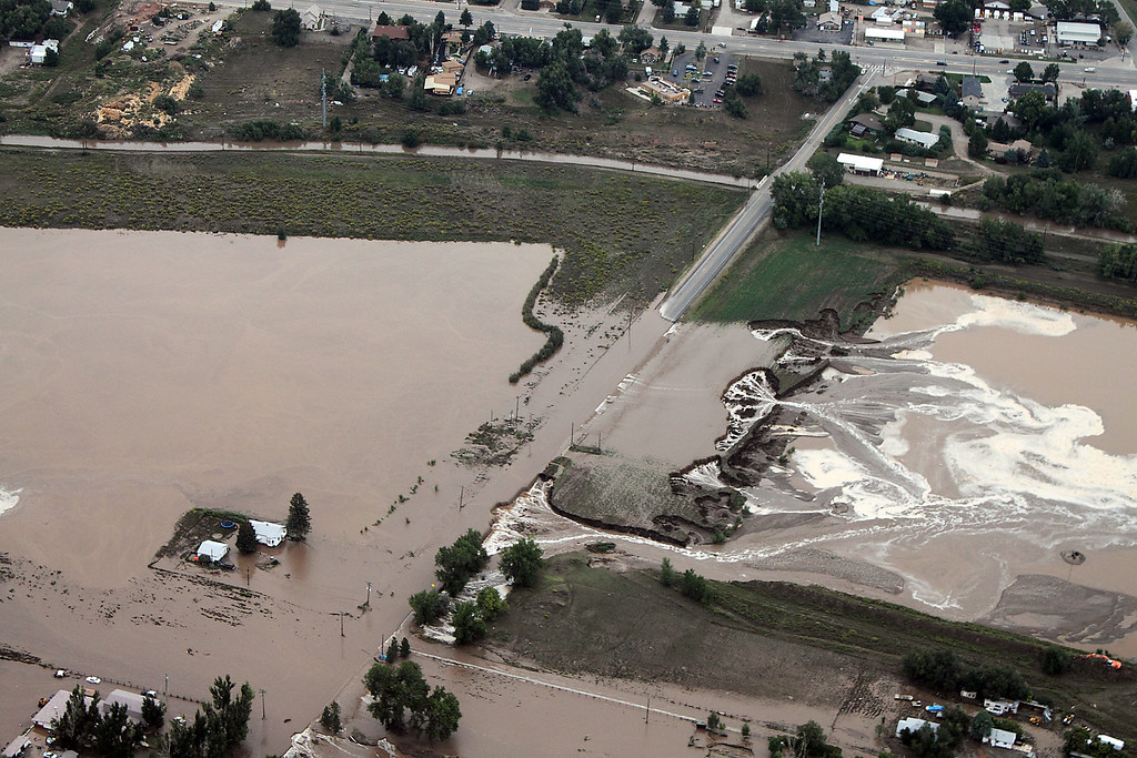 . An aerial photo taken Friday, September 13, 2013, shows the area near Namaqua Road south of U.S. 34 in Loveland. (Photo by Bob Stucklen/submitted to Loveland Reporter-Herald)