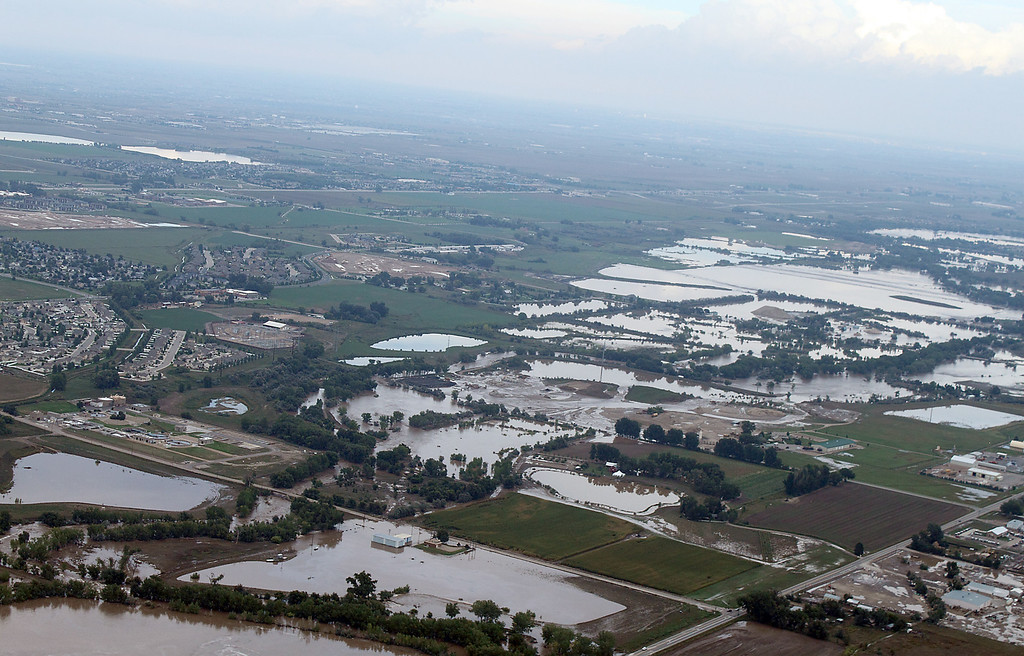 . An aerial photo taken Friday, September 13, 2013, shows the area near Colorado 402 and Boise Avenue in Loveland looking. (Photo by Bob Stucklen/submitted to Loveland Reporter-Herald)
